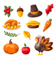set happy thanksgiving day items vector image vector image