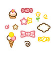set icon candy ice cream cake star vector image vector image
