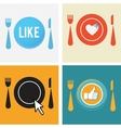 set of four icons for food and restaurant webs vector image