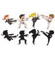 set of karate kids vector image