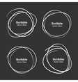 Set of White Hand Drawn Scribble Circles vector image vector image