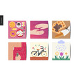 simple things - postcards set vector image