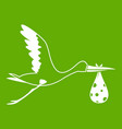 stork carrying icon green vector image vector image