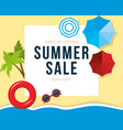 summer sale banner with palms beach umbrellas vector image vector image