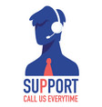 support call us everywhere customers center vector image vector image
