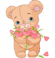 Teddy bear giving hearts bouquet vector image vector image
