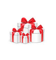 white gift boxes different shapes with red vector image vector image