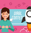 woman holds smartphone video viral content on vector image vector image
