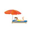 Woman lying under a beach umbrella vector image