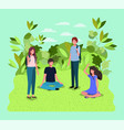 young people on the park characters vector image