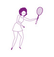 young woman with tennis racket isolated icon white vector image