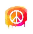 Peace sign on watercolor splatter Hippie vector image