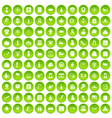 100 national holiday icons set green circle vector image vector image