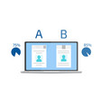 a-b comparison split testing concept with vector image vector image