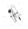astronaut flying to space with rocket vector image vector image
