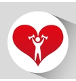 athlete silhouette barbell weights heart vector image vector image