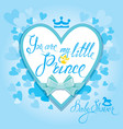 baby shower with heart and crown on blue vector image vector image