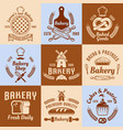 bakery and pastries vintage colored emblems vector image vector image