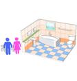 Bathroom interior with 3d facilities vector image vector image