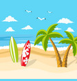 beautiful tropical beach surfboard vector image