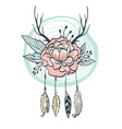 Boho style card Flowers feathers horns and leaves