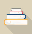 book of stack with long shadow vector image vector image
