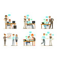 business people characters working in office vector image vector image
