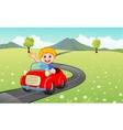 Cartoon boy driving red car vector image vector image