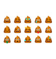 cartoon poop emoticons set vector image vector image
