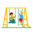 children on playground - colorful flat design vector image