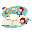 Children writing and reading vector image vector image