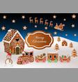 christmas gingerbread landscape background vector image vector image