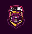 colorful logo bear s head an aggressive beast a vector image