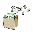 comic cartoon wallet spilling money vector image