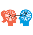 Couple with labyrinth in the heads vector image vector image