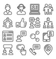 customer and business people icons set line style vector image vector image
