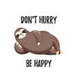 cute funny cartoon sloth vector image vector image