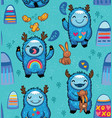 cute monsters friendly seamless pattern vector image vector image