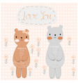 cute teddy bear couple in polka dot background vector image vector image