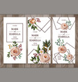 delicate wedding invitation with english roses vector image