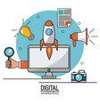 digital marketing computer technology online vector image