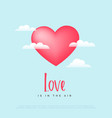 elegant pink heart flying in sky with clouds vector image vector image
