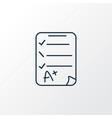 exam paper icon line symbol premium quality vector image vector image