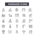 feminism line icons for web and mobile design vector image