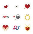 flat icon love set of wings letter heart and vector image vector image
