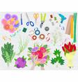 floristics florists hands making beautiful vector image vector image