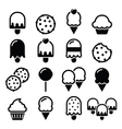 Food desserts icons - cupcake ice-cream cookie