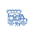 food truckstreet mobile kitchen line icon concept vector image
