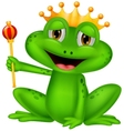 Frog king cartoon vector image vector image