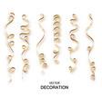 gold glitter curly ribbon serpentine confetti vector image vector image